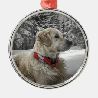 Beautiful Golden Retriever in snow Christmas Ornament