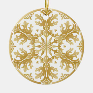 Beautiful Golden Snowflake Circle Ornament