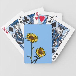 Beautiful Golden Stained Glass Sunflowers Bicycle Playing Cards