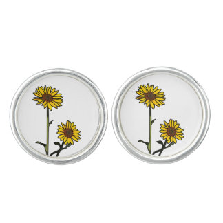 Beautiful Golden Stained Glass Sunflowers Cufflinks