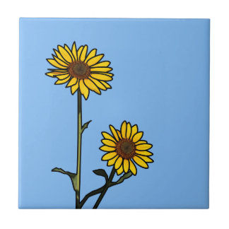 Beautiful Golden Stained Glass Sunflowers Tile