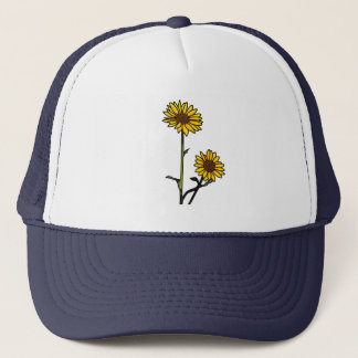 Beautiful Golden Stained Glass Sunflowers Trucker Hat