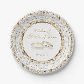 Beautiful Golden Wedding Bands Paper Plate