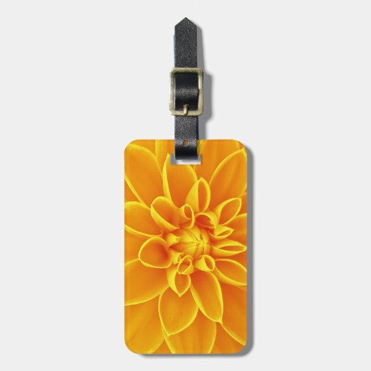 beautiful golden yellow dahlia flower colourful luggage tag