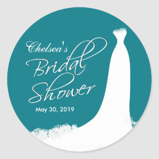 Beautiful Gown Bridal Shower on Teal Round Sticker