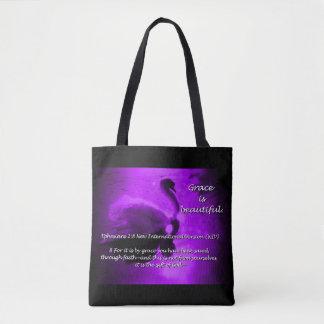 Beautiful Grace Swan Tote- purple Tote Bag