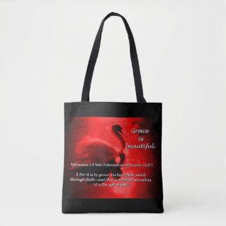Beautiful Grace Swan Tote- red Tote Bag
