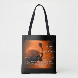 Beautiful Grace Swan Tote- rust Tote Bag