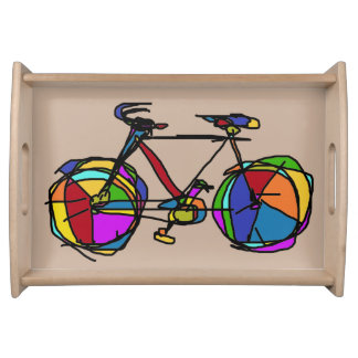 beautiful graphic color bicycle serving tray