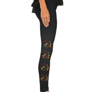 beautiful graphic yellow  fall trees, leaves, bird legging tights