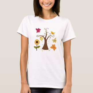 beautiful graphic yellow fall trees, leaves, birds T-Shirt