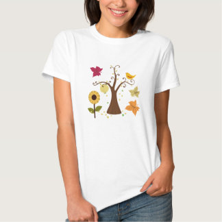 beautiful graphic yellow fall trees, leaves, birds tees