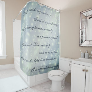 Beautiful Gray Cleansing Mantra design Shower Curtain