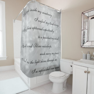 Beautiful gray /silver Cleansing Mantra design Shower Curtain