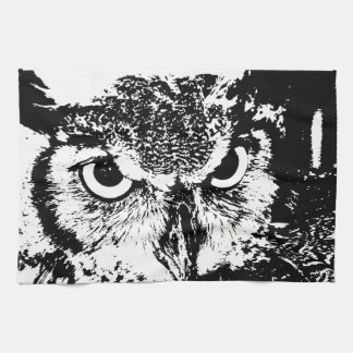 Beautiful Great Horned Owl Black & White Graphic Kitchen Towels