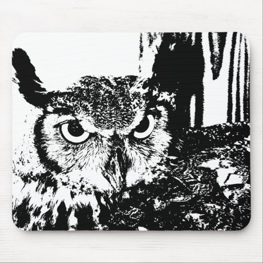 Beautiful Great Horned Owl Black & White Graphic Mousepad