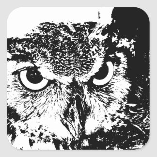 Beautiful Great Horned Owl Black White Graphic Square Sticker