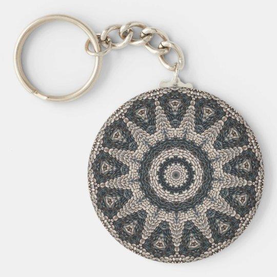Beautiful Greek black and white pebble Mosaic Art Basic Round Button Key Ring