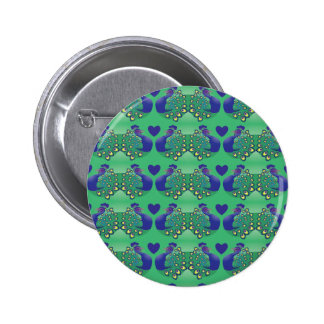 Beautiful green and blue peacocks birds with tail 6 cm round badge