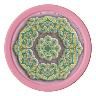Beautiful green and purple Chinese style mandala Poker Chips