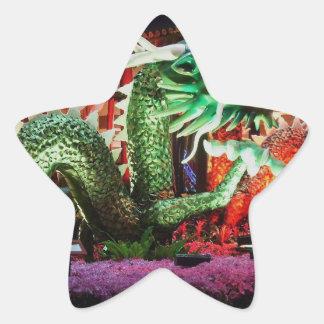 Beautiful Green Dragon Art Sculpture Star Stickers