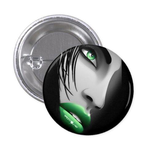 Beautiful Green Eyes Girl Button