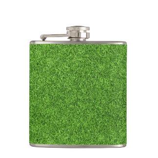 Beautiful green grass texture from golf course hip flask