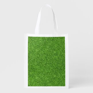 Beautiful green grass texture from golf course reusable grocery bag
