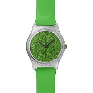 Beautiful green grass texture from golf course wrist watch