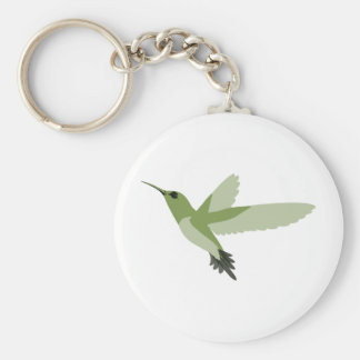 Beautiful Green Hummingbird Basic Round Button Key Ring