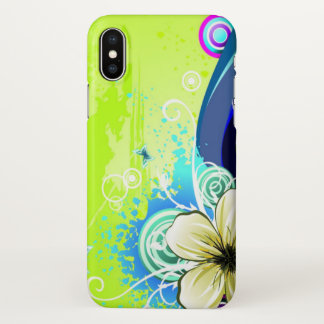 Beautiful green love flowers swirl art iPhone x case