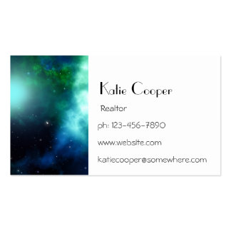 Beautiful Green Nebula filled with Stars Business Cards