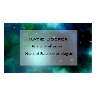Beautiful Green Nebula filled with Stars Business Card Template