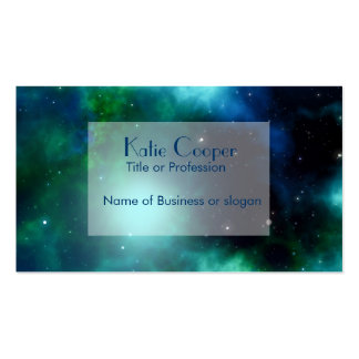 Beautiful Green Nebula filled with Stars Business Card Templates