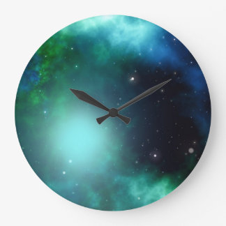 Beautiful Green Nebula filled with Stars Large Clock