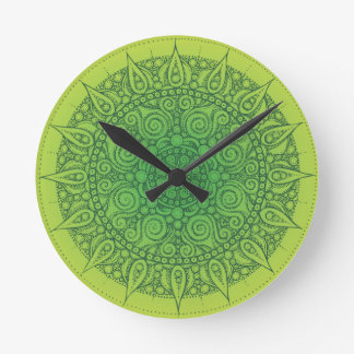 Beautiful Green Oriental Design Round Clock