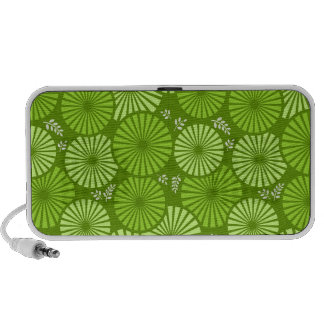 Beautiful, green retro floral doodle speakers