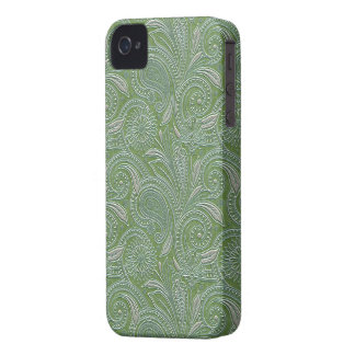 Beautiful Green & Silver Paisley iPhone 4 Case