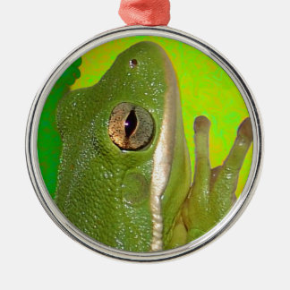 Beautiful green tree frog giviing the peace sign. christmas ornament