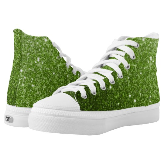 Beautiful Greenery Green glitter sparkles High Tops