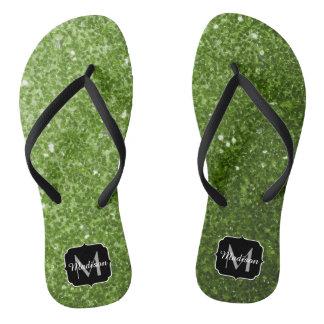 Beautiful Greenery Green glitter sparkles Monogram Flip Flops