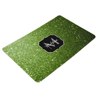 Beautiful Greenery Green glitter sparkles Monogram Floor Mat