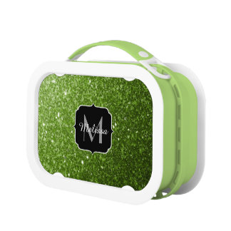 Beautiful Greenery Green glitter sparkles Monogram Lunchbox