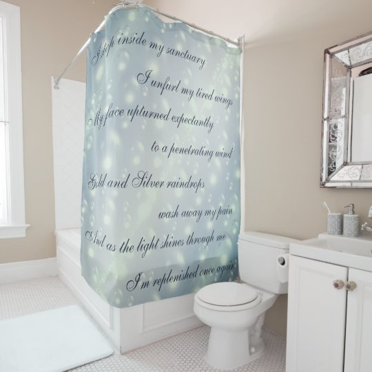 Beautiful Grey Cleansing Mantra design Shower Curtain