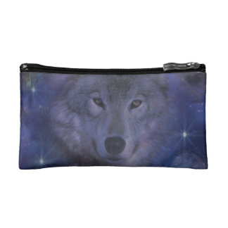 Beautiful Grey Wolf in the Moonlight Makeup Bag