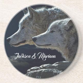 Beautiful Grey Wolves at Night Coaster