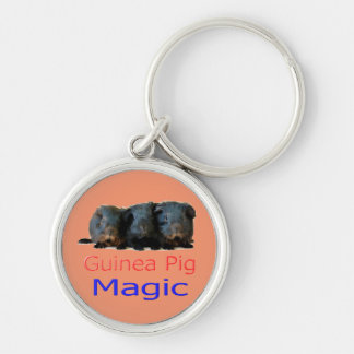 Beautiful 'Guinea Pig Magic' keyring Silver-Colored Round Key Ring
