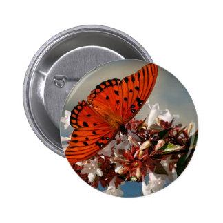 Beautiful Gulf Fritillary Butterfly Button
