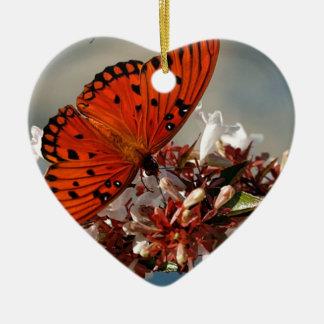 Beautiful Gulf Fritillary Butterfly Ceramic Heart Decoration