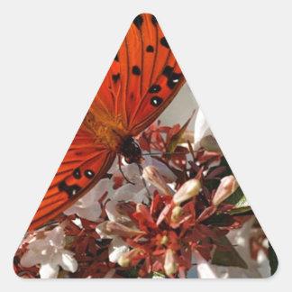 Beautiful Gulf Fritillary Butterfly Triangle Sticker
